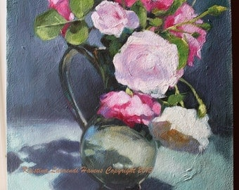 Painting of Roses in a Glass Vase Original Art