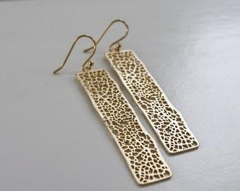 Gold Dangling Earrings, 14K Gold Ear Wires