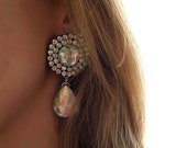 Crystal Aurora Borealis Acrylic Rhinestone Statement Earrings, Round Crystal AB Jeweled Earrings, Light Weight Crystal AB Drop Earrings