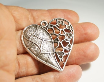 1pc- Matte Silver Plated Heart Pendant -53x45mm- ( 403-017SP)