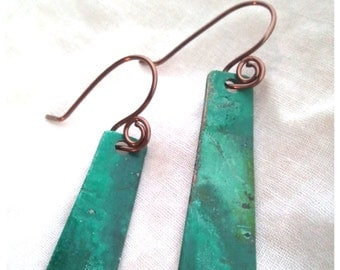 patina earrings, green patina earrings, copper earrings, green patina, rustic earrings, copper jewelry, rustic jewelry, green earrings, boho