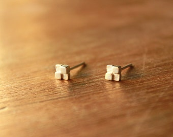 Tiny block Earrings-sterling silver