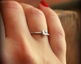 Tiny Block Ring - Stacking Ring - Sterling silver