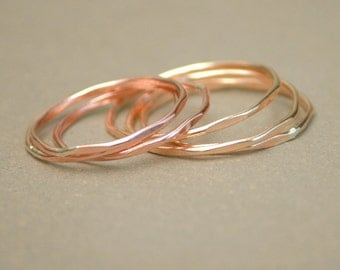 stacking ring. GOLD or ROSE gold thin stacking rings. super slim. hammered and shiny. THREE.