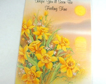 Vintage Get Well Card, Greeting Card, Unused, Get Well, Yellow Daffodils, Flowers, Spring Serenade, Brotherhood for Blind  (184-13)