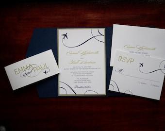 "Airplane Wedding Invitation Sample - ""Denver"""