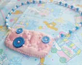 Fairy Kei Princess - Pink, Blue and white beaded necklace with felt pendant Sterling silver clasp