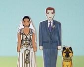 Custom Wedding Cake Topper Couple With Pet