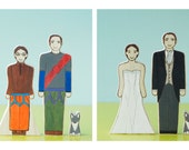 Custom Wedding Cake Topper Couple With Pet, One Side Wedding Attire, One Side Sports Attire