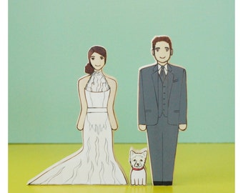 Custom Wedding Cake Topper Couple With Pet