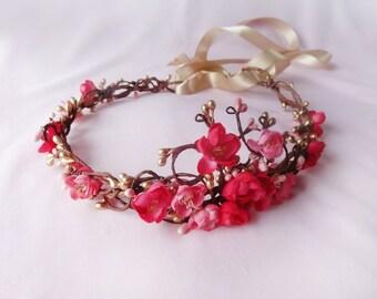 gold pink flower hair accessory, pink flower circlet,  bridal flower halo - FILIGREE HALO -  gold flower girl accessory, bridal head wreath