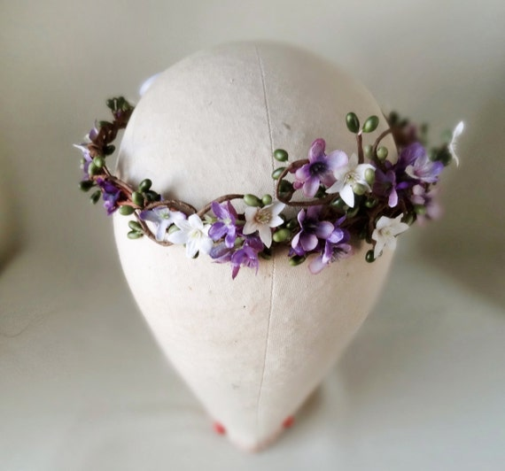 Flower Halo Wedding: Items Similar To Purple Flower Crown, Bridal Halo, Hair