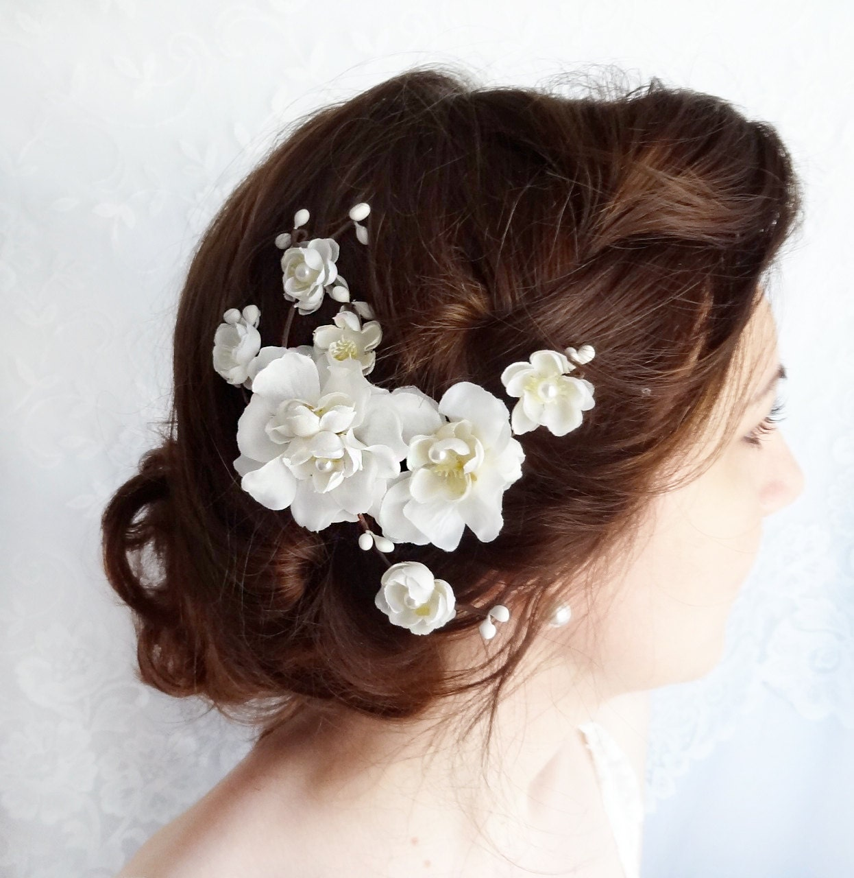 Rustic Wedding Hairstyles: White Flower For Hair Bridal Hair Accessories Rustic