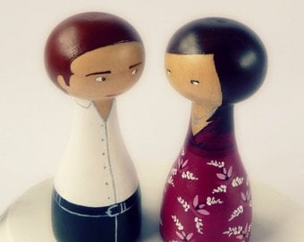 FREE SHIPPING Custom couple portrait Cake Topper - Personalized - Wooden art doll hand painted
