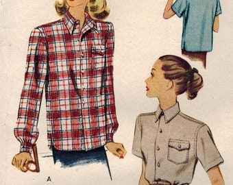 1940s McCall 6709 UNCUT Vintage Sewing Pattern Misses' Shirt Size 12 Bust 30