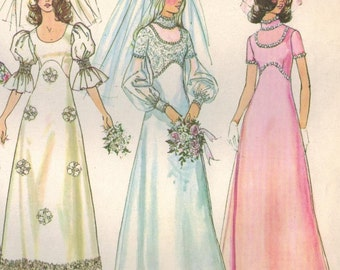 1970s Simplicity 5462 UNCUT Vintage Sewing Pattern Misses Wedding Gown Bridesmaid Dress Size 14 Bust 36, Size 16 Bust 38