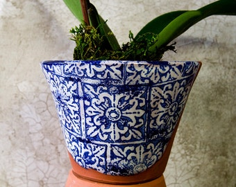 Blue and WhiteTerra Cotta Planter with Italian Design