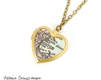 Boston Map Necklace on Small Vintage Heart Locket, Antique Map Jewelry, Massachusetts, New England - Brass or Silver