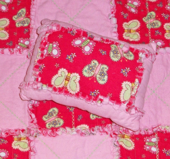 Mini Rag Quilt and Pillow Combo - Doll set or Naptime pillow and Lovey Set