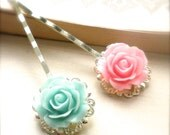 Pastel Rose Cabochon Flower Bobby Pins, Spring, Valentines Day, Hair Accessory,  Mint and Pink Pastel, Cabochon, Easter