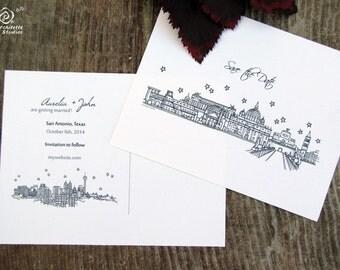 Save the Date Wedding - (100) City Skyline Postcards- A2 sized (4.25 x 5.5)