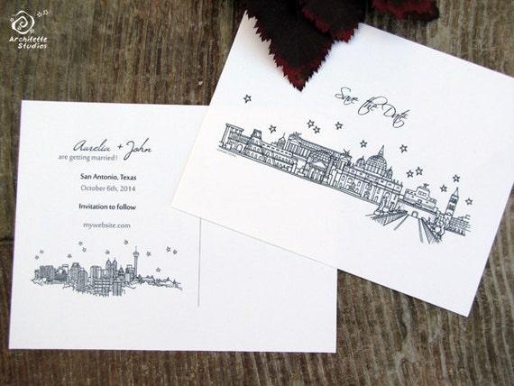 Save the Date Wedding - (20) City Skyline Postcards- A2 sized (4.25 x 5.5)