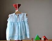 1950s Summer Blue dress, size 6 months