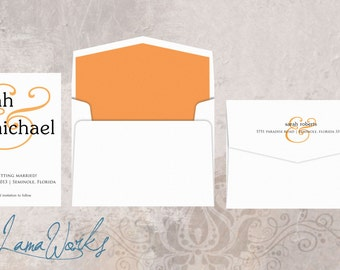Modern Wedding Save the Date, Orange Ampersand, Simple, Wedding Save the Date Card - Custom Colors - Sara and Michael