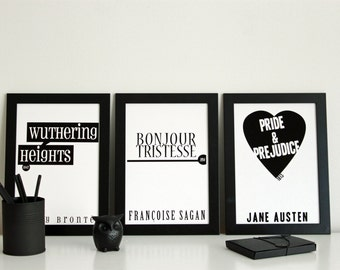 Book Cover Posters: Set of 3 // Literary Gift // Book Cover Art // Literary Poster // Book Lover // Book Gift