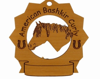 8000 American Bashkir Curly Head  Personalized Wood Ornament