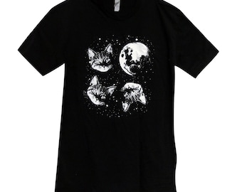Mens Cat  T Shirt - Three Cat Moon Mens Shirt - (Available in sizes S, M, L, XL)
