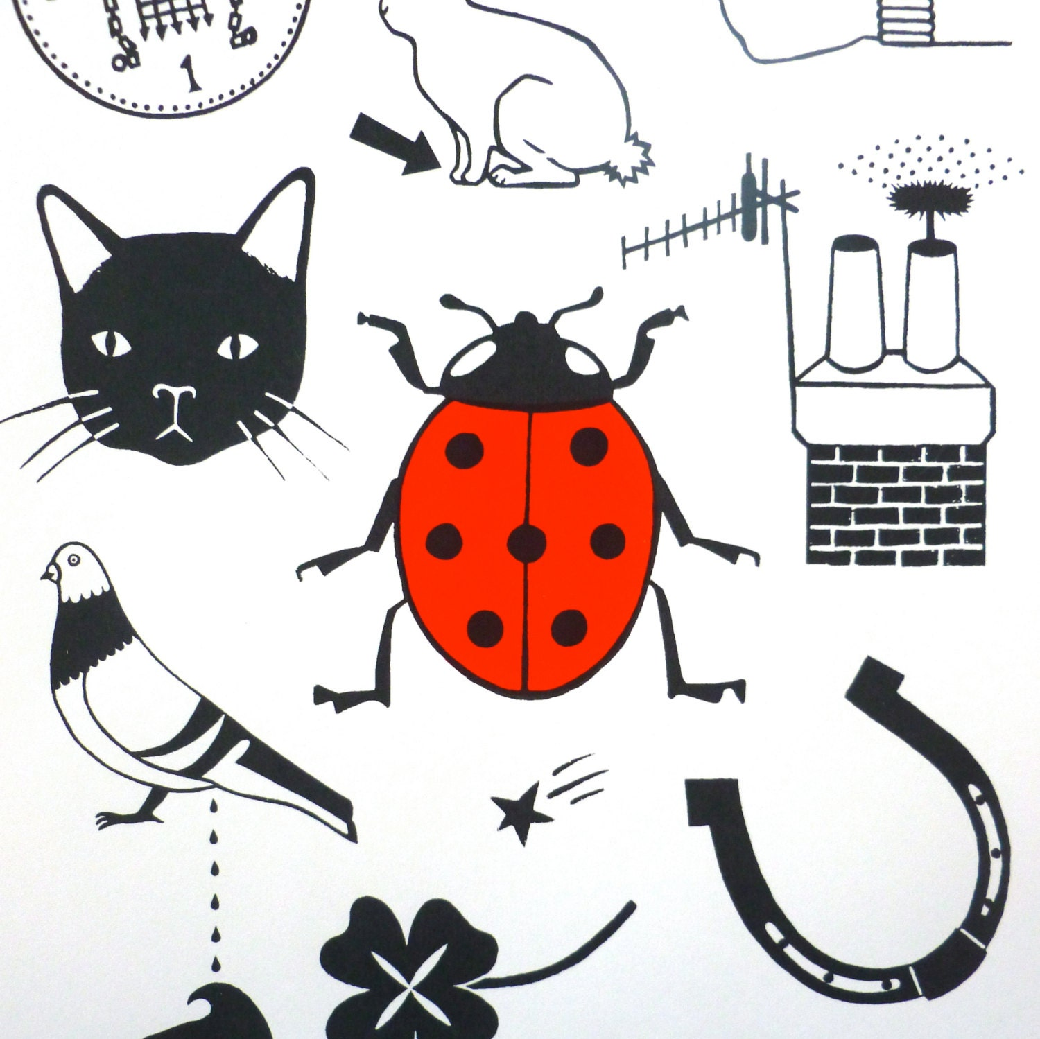 Art Screen Print Lucky Things Limited Edition Typography