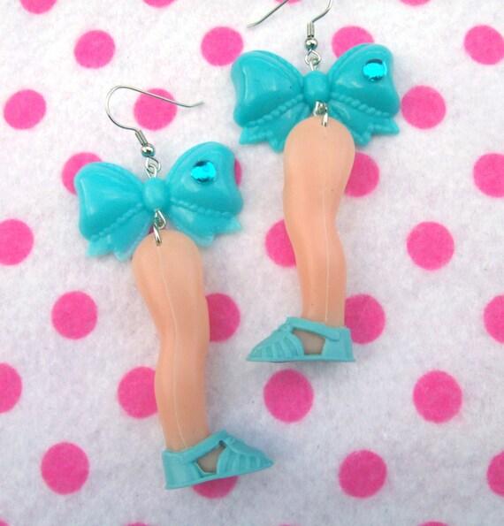 Pretty Vintage Doll Leg Earrings