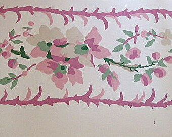 SALE - Vintage Wallpaper Pink, Sage, Berry Floral Babys Room  Border - Chinese Chinoiserie Brunschwig Fils, Shabby Chic Bath, Country Living