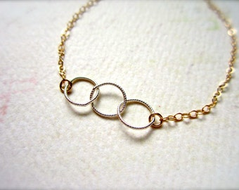 Trio Bracelet - mixed metals circles bracelet, mixed metal delicate jewelry, classy trinity circle bracelet, B03/04/10