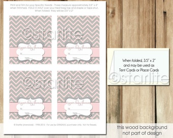 Printable Baby Shower Place Cards, Pink Gray Chevron Tent Cards, Baby Shower Girl Place Cards, Printable File