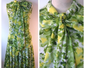 SALE Vintage 60's Green Yellow Watercolor Dropwaist PLEATED Skirt Dress - Big Ascot Bow