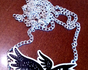 Grumpy Crow acrylic charm necklace by The Gorgonist
