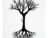 Black Tree 2 - Original Contemporary Monochrome Watercolor Painting on Paper - by Natasha Newton - theblackbirdsings