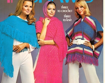 6 Vintage Shawl Patterns to Knit and Crochet by Columbia Minerva Leaflet No. 2524 Copyright 1971