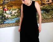 Vintage long black dress velvet with sheer chiffon and velvet bottom 90s