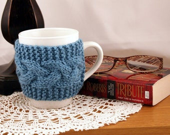 Country Blue Hand Knit Coffee Mug Cozy Cable Stitch