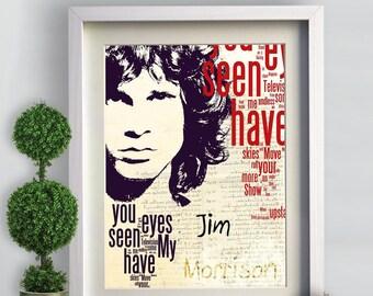Print Jim Morrison The Doors music poster  Birthday Gift art  poster Doors illustration  Rock N Roll Music canvas giclee
