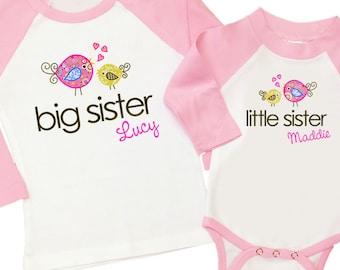 Big sister little sister whimsy bird matching  raglan sleeve sibling set