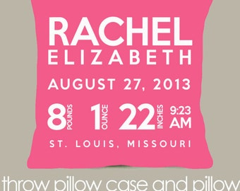 Birth announcement pillow new baby gift custom pink pillow with WHITE print