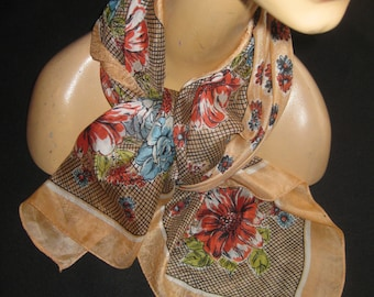 Vintage Floral Silk Scarf Colorful Pattern Roses and Daisies