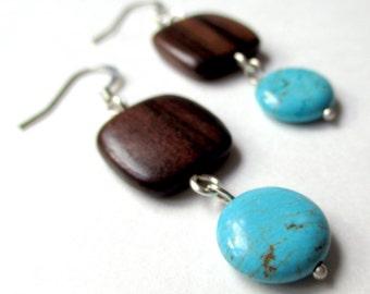 Boho Turquoise and Wood Earrings - Sterling Silver Howlite Turquoise Earrings- Tiger Ebony Wood - Bohemian Earrings
