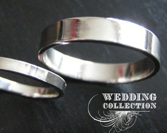 Set Recycled Palladium Wedding Rings Simple and Polished