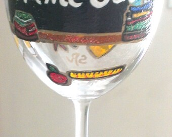 Hand painted Wine Glasses For Teacher, Teacher Gifts by Clearly Susan
