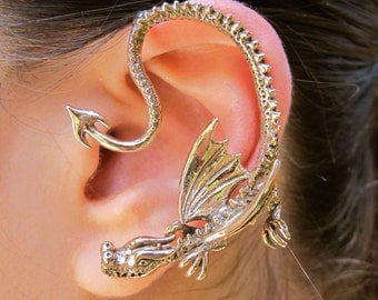 Popular items for non pierced ear cuff on etsy - Game of thrones dragon ear cuff ...